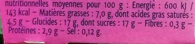 Fondant Vanille - Informations nutritionnelles - fr