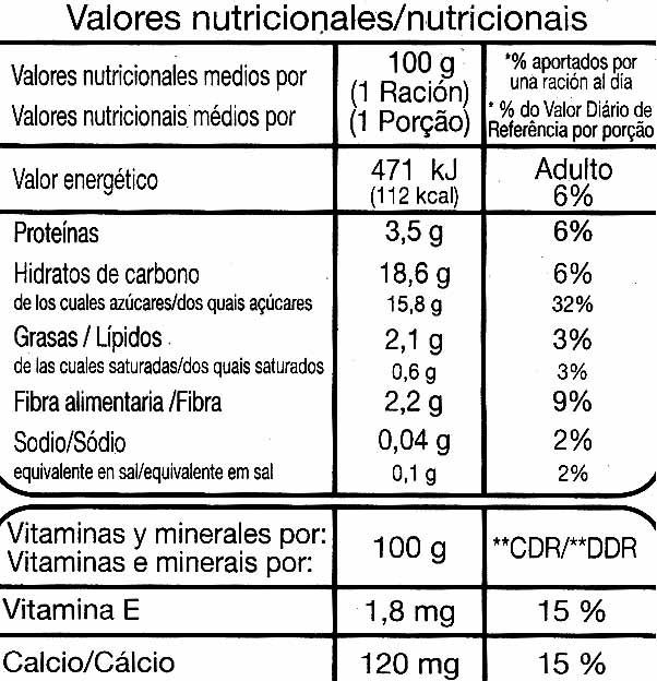 Postre de soja con chocolate - Información nutricional