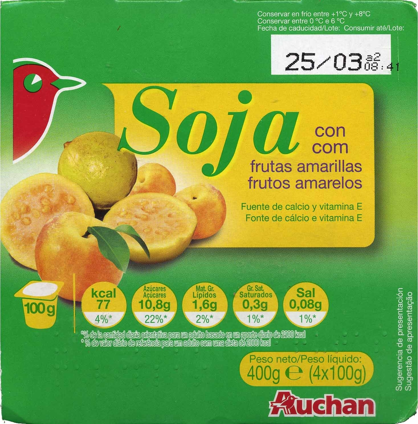 postre de soja auchan frutas amarillas 400 g 4 x 100 g. Black Bedroom Furniture Sets. Home Design Ideas