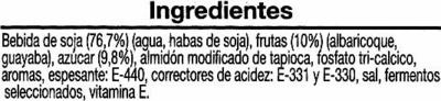 Yogur soja albaricoque y guayaba - Ingrédients