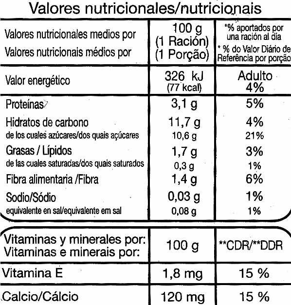 """Postre de soja """"Auchan"""" con frutas del bosque - Información nutricional"""