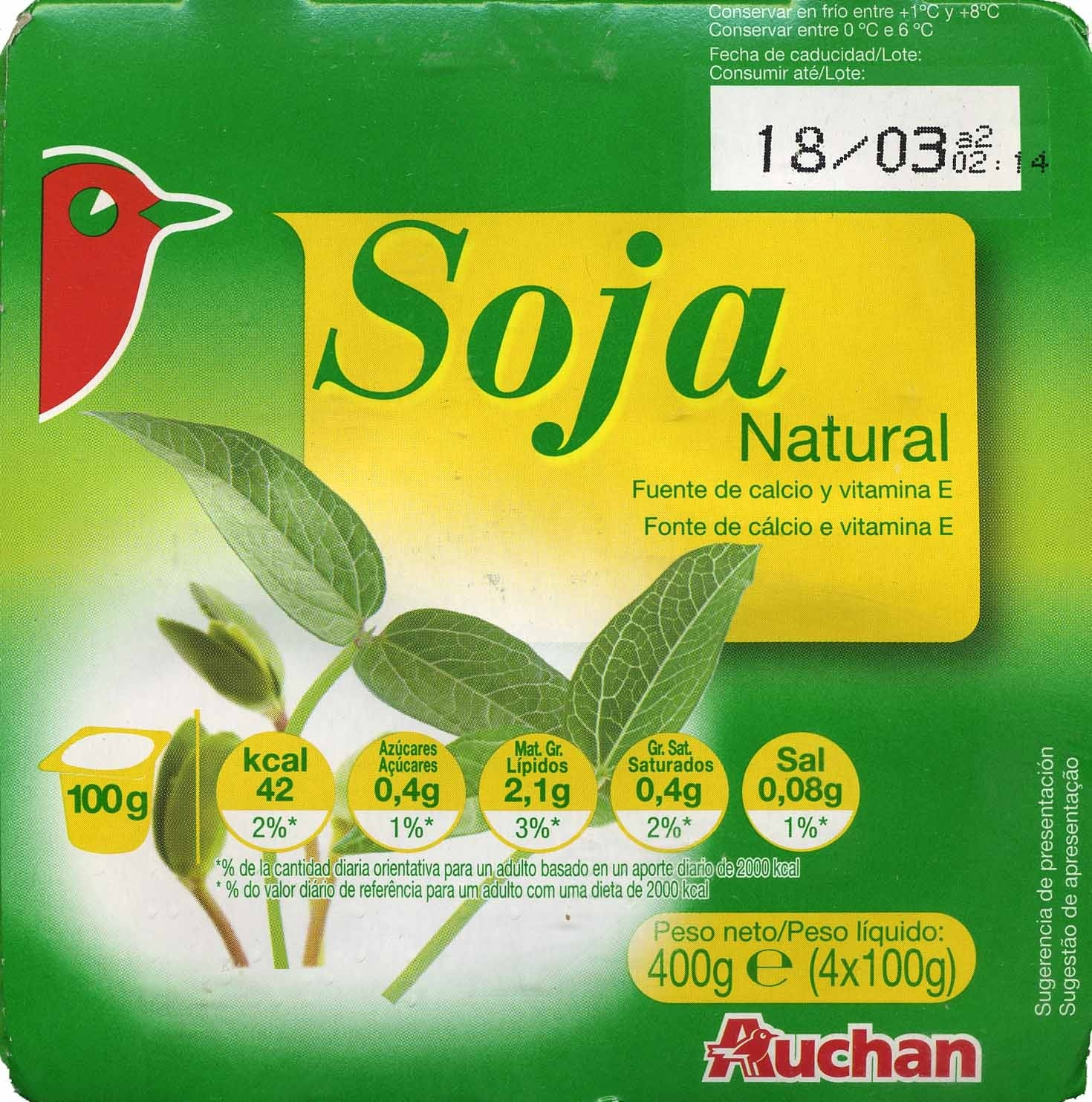 Yogur de soja natural Auchan - Product