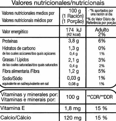 """Postre de soja """"Auchan"""" Natural - Informació nutricional"""