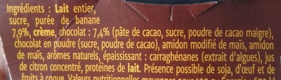 Crème chocolat banane - Ingredients