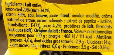 Gourmand® Yaourt Citron Lemon Curd - Ingrédients - fr