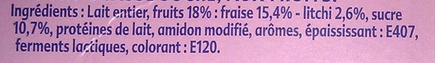 Yaourt Fraises Litchi - Ingredients