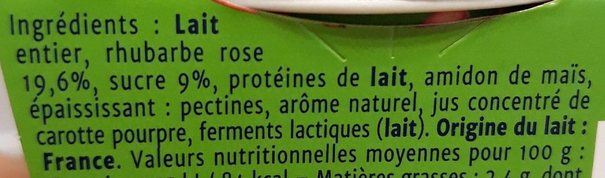 Gourmand® Yaourt Rhubarbe rose - Ingredients - fr