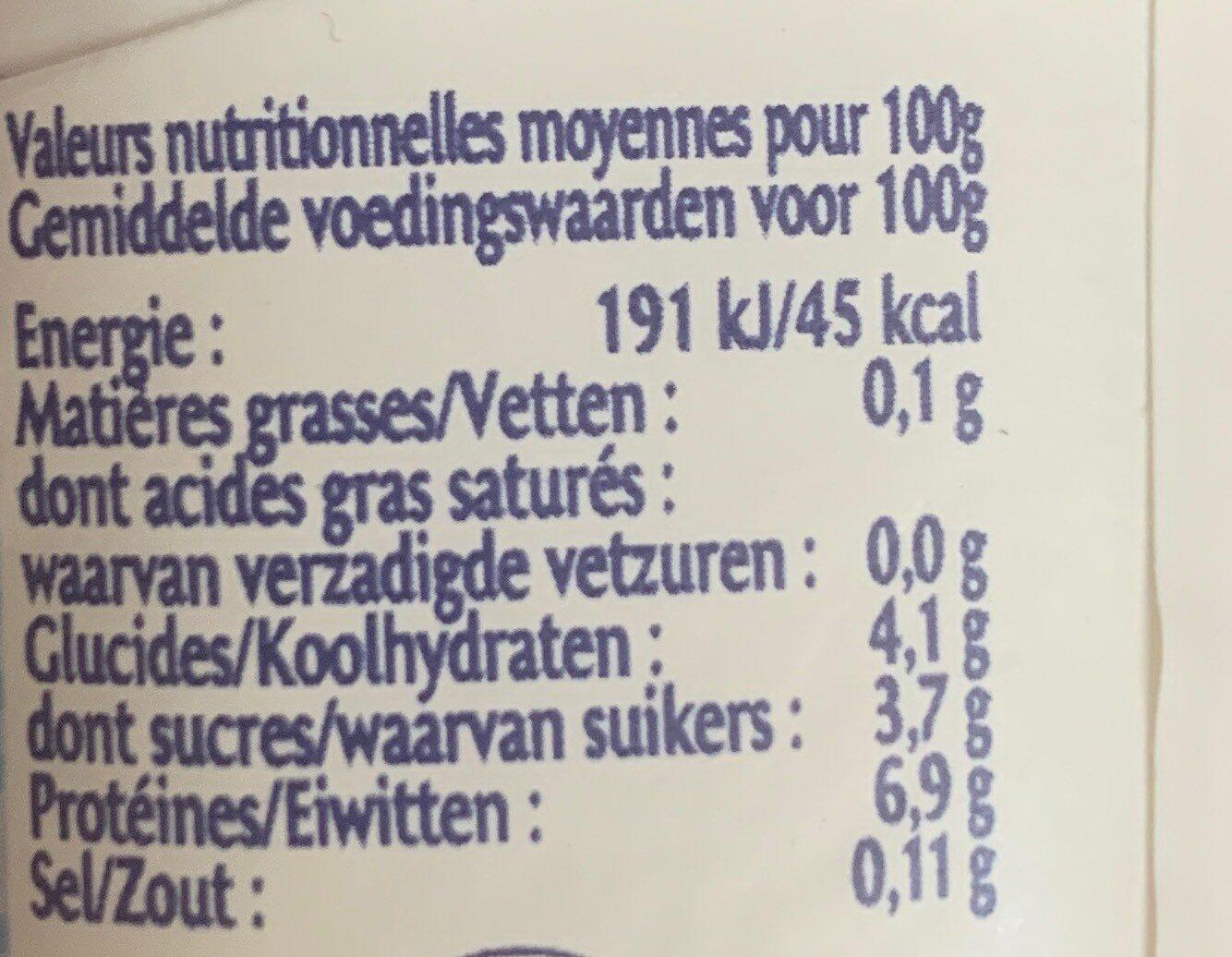 Légéreté aux Fruits 0% - Informations nutritionnelles - fr