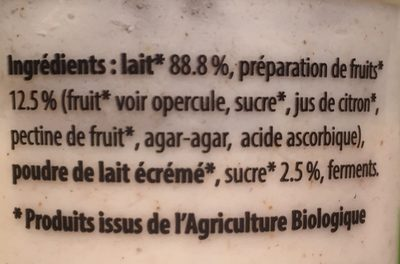 Yaourt aux fruits pomme cannelle - Ingredients