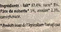Dessert de lait gelifié et aromatisé Noisettes - Ingrédients