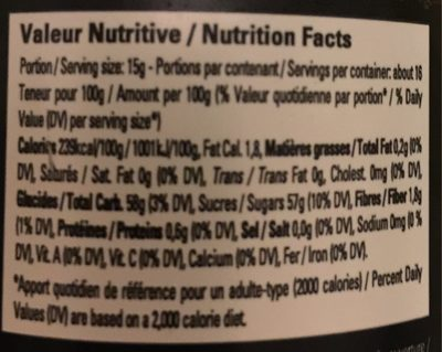 Confiture d'amour - Nutrition facts
