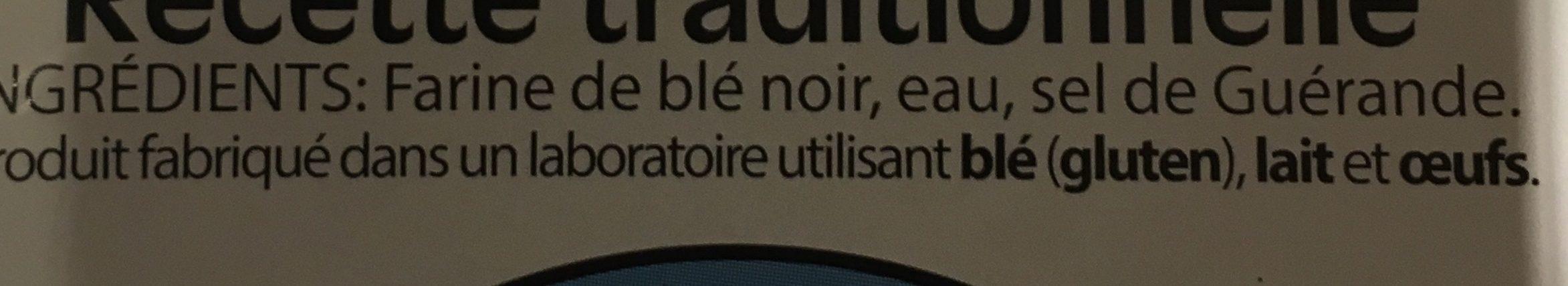 3 Galettes de Blé Noir - Ingrédients - fr