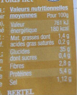 3 Galettes de Blé Noir - Informations nutritionnelles - fr