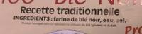 Galettes 100% Blé-Noir - Ingrédients
