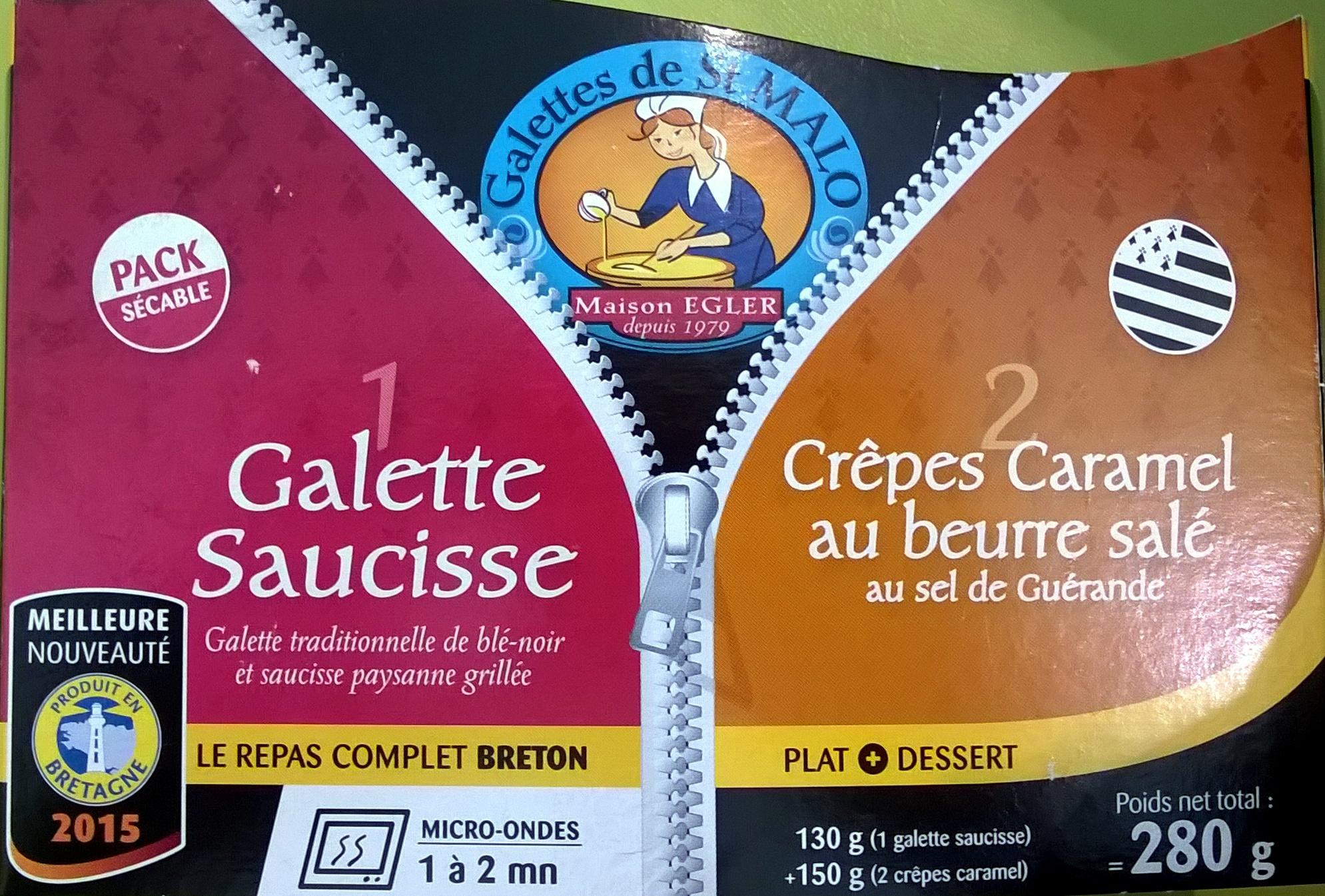 1 galettes saucisse 2 crêpes caramel au beurre salé - Produit