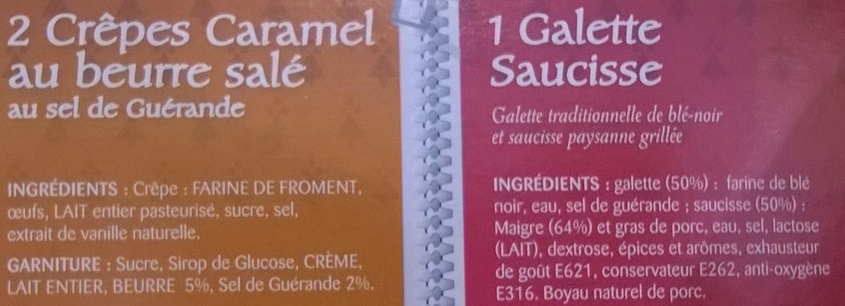 1 galettes saucisse 2 crêpes caramel au beurre salé - Ingrédients