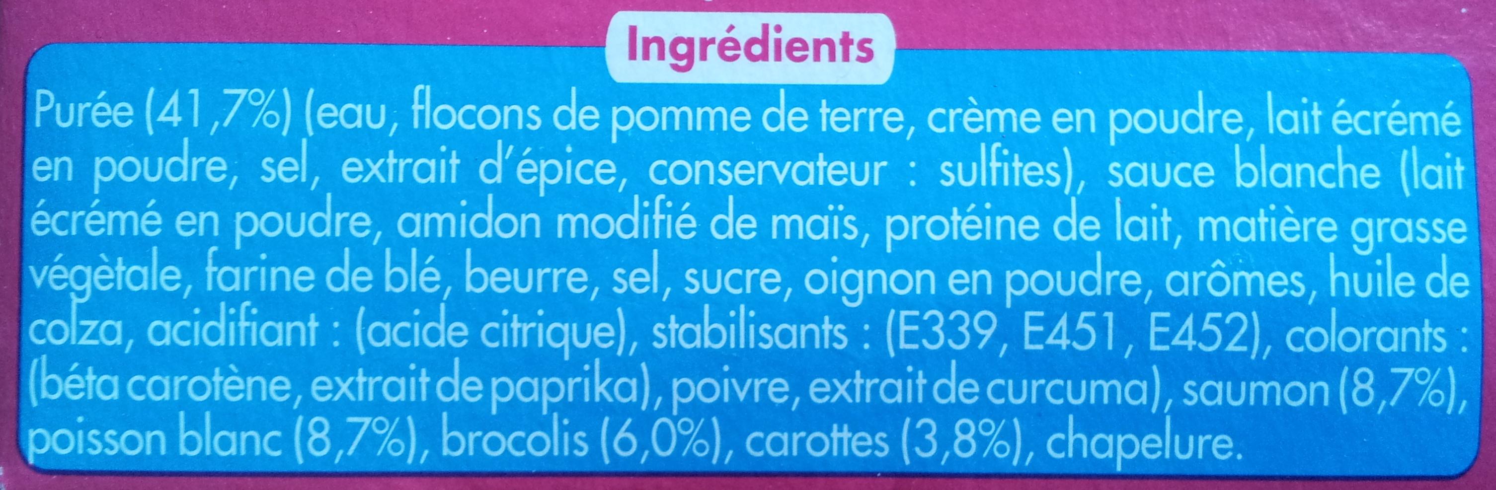 Gratin de Poissons et Purée (1,8 % MG), Surgelé - Ingrediënten - fr