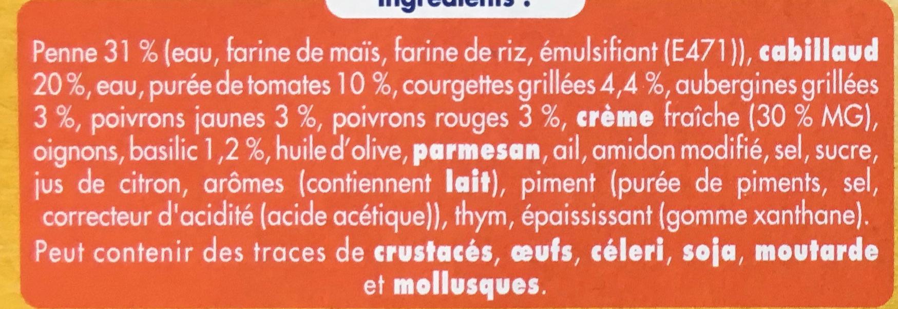 Cabillaud Pennes au basilic et sa compotée à la provençale (2,3% MG) - Ingredients - fr
