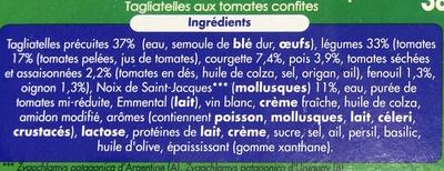 Petites Noix de Saint-Jacques, Tagliatelles aux tomate confites (2,4 % MG) - Ingrédients - fr