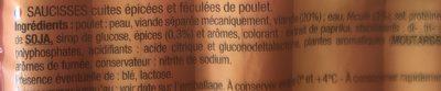 360G Saucisse Volaille Fumée Halal - Ingrédients - fr