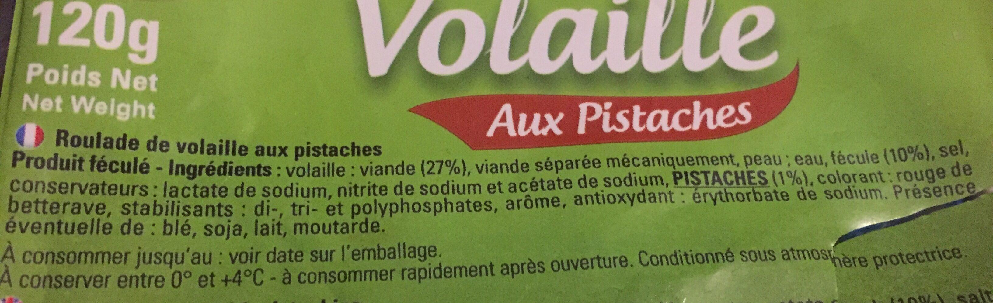 Roule de Volaille aux pistaches - Ingrédients