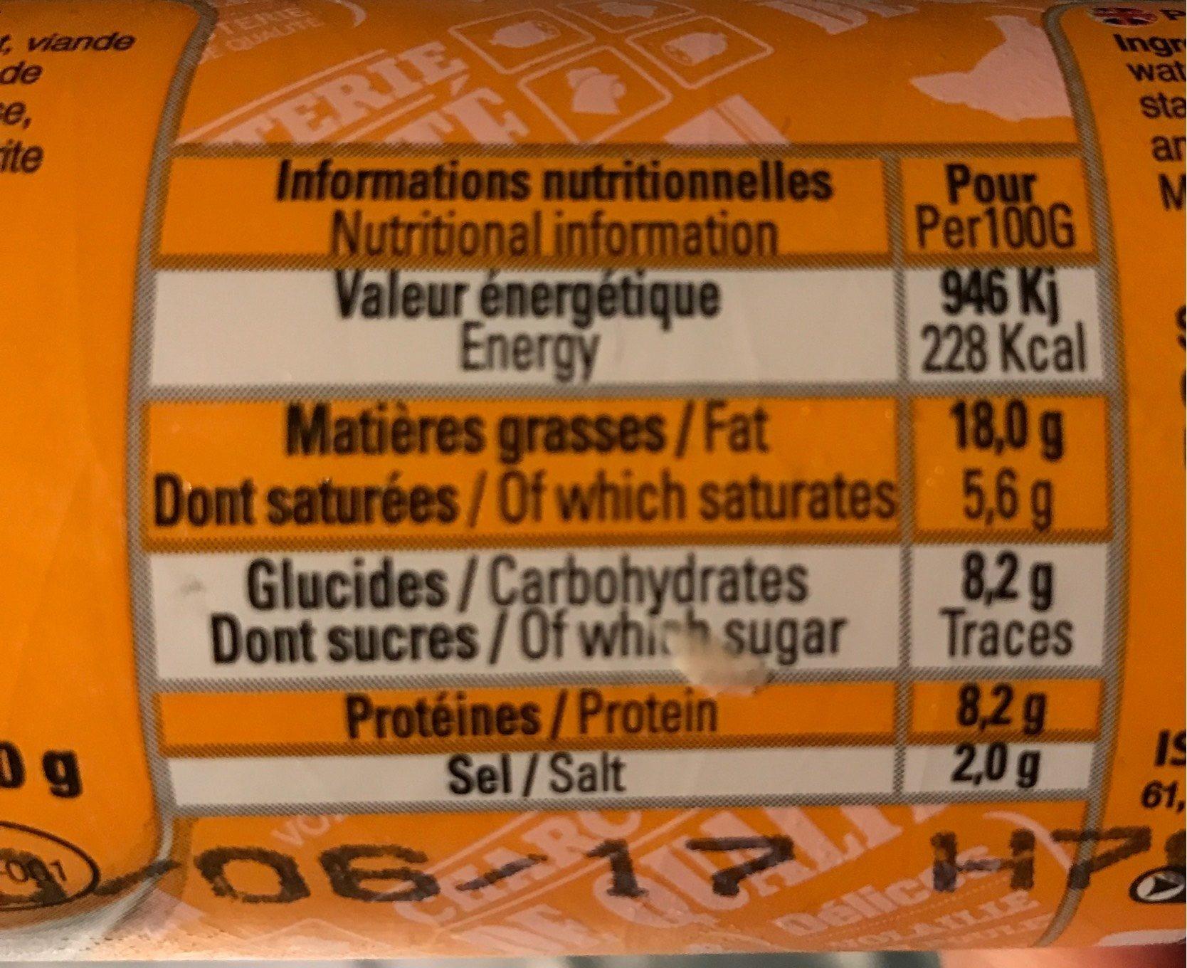 500G Saucisson Poulet Halal - Nutrition facts