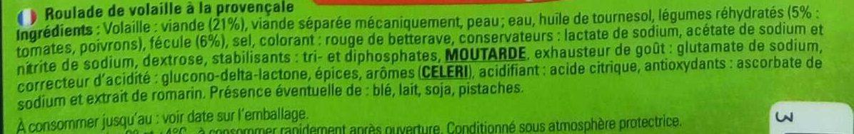 Roulade de volaille à la Provençale - Ingrédients - fr