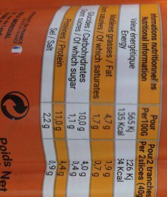 Saucisson à l'ail fumé - Informations nutritionnelles - fr