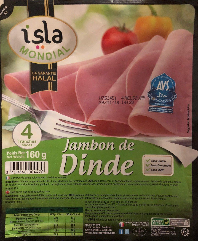 Jambon de Dinde (4 tranches) - Produit