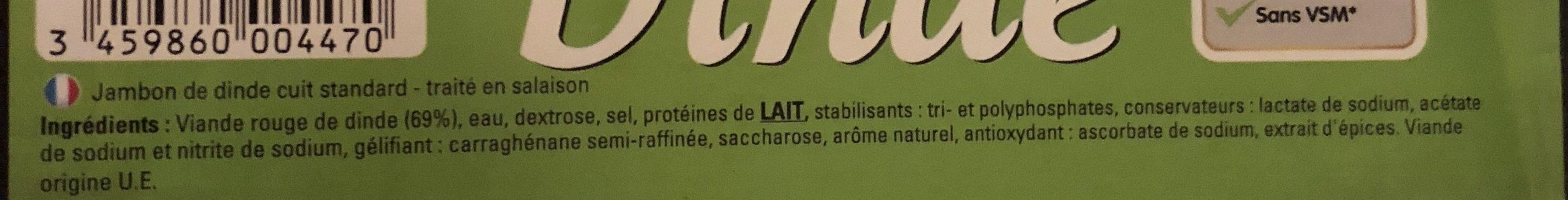 Jambon de Dinde (4 tranches) - Ingrédients