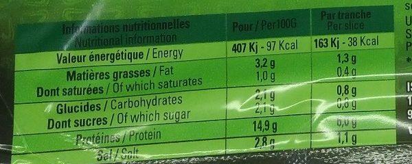 Jambon de dinde halal - Informations nutritionnelles - fr