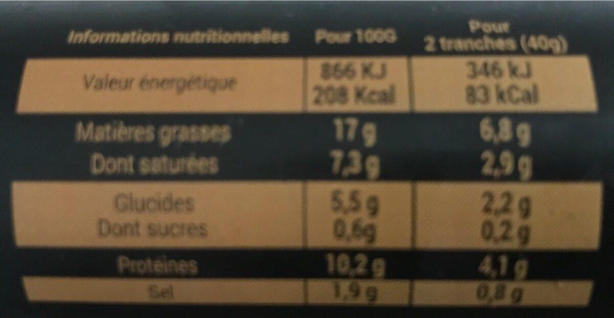 Saucisson halal cuit volaille Isla - Informations nutritionnelles - fr