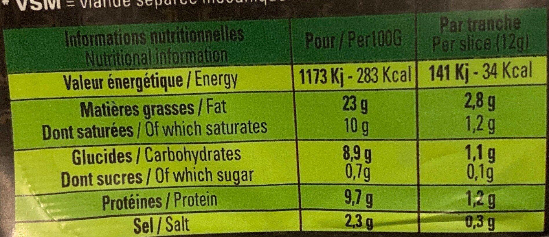 Roulade de bœuf halal fumée Isla - Nutrition facts - fr