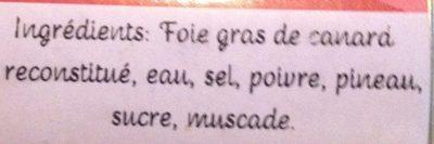 Bloc de foie gras de canard - Ingredients - fr