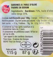 Sardines Huile Olive 1-6 115G Allege En Sel - Informations nutritionnelles - fr