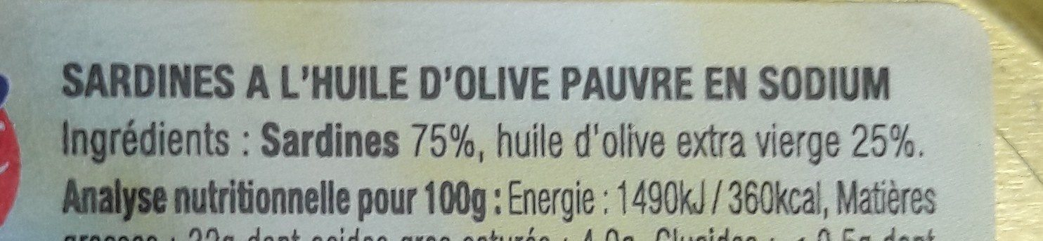 SARDINES à l'huile d'olive vierge extra - Ingrédients - fr