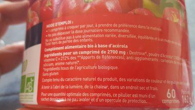 Acerola 1000 Bio - 60 Comprimés - Dietaroma - Ingredients