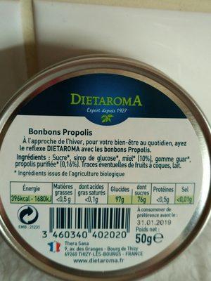 Bonbons Propolis - 50GR - Dietaroma - Ingredients