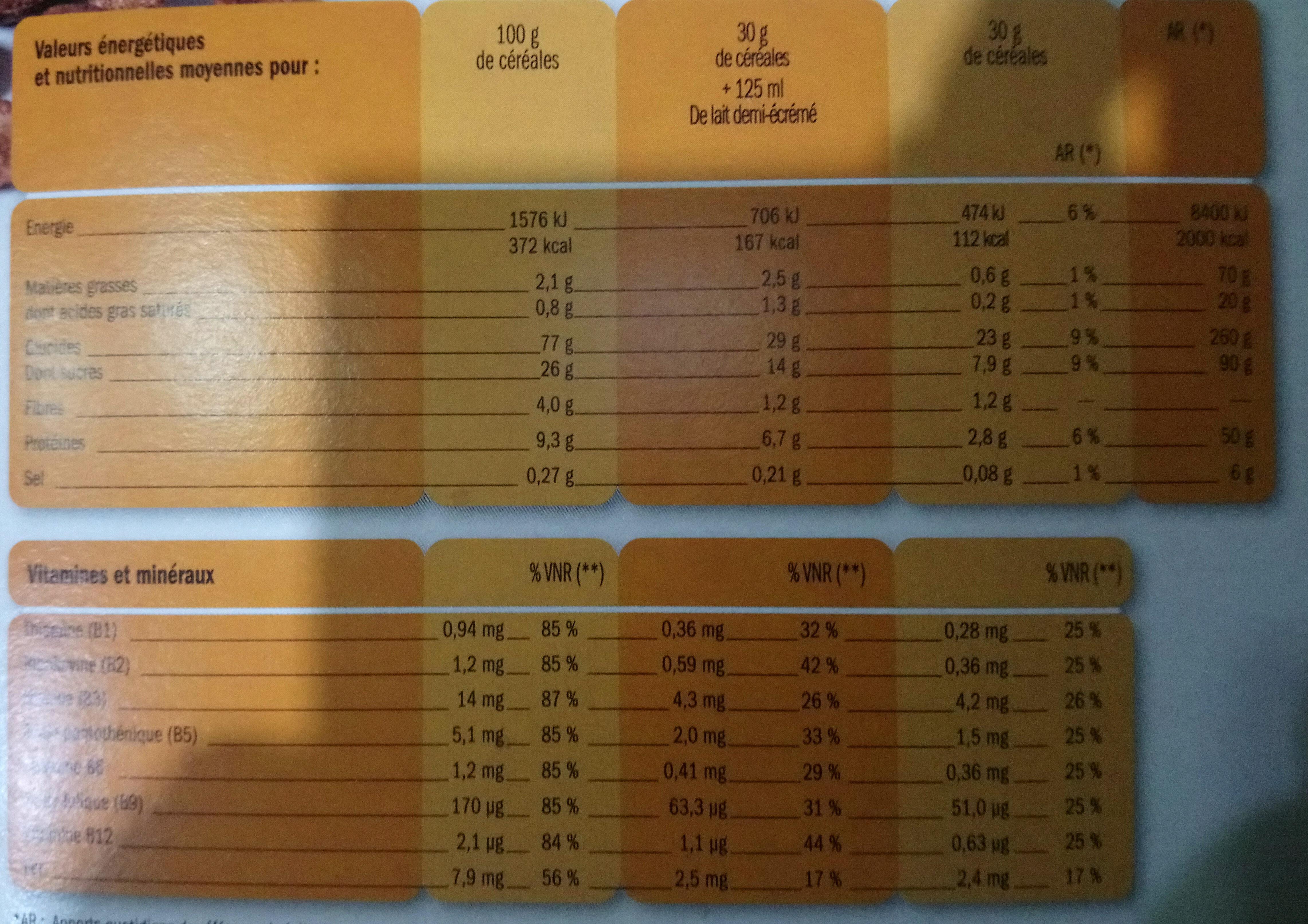 Céréales pétales au chocolat - Nutrition facts - fr