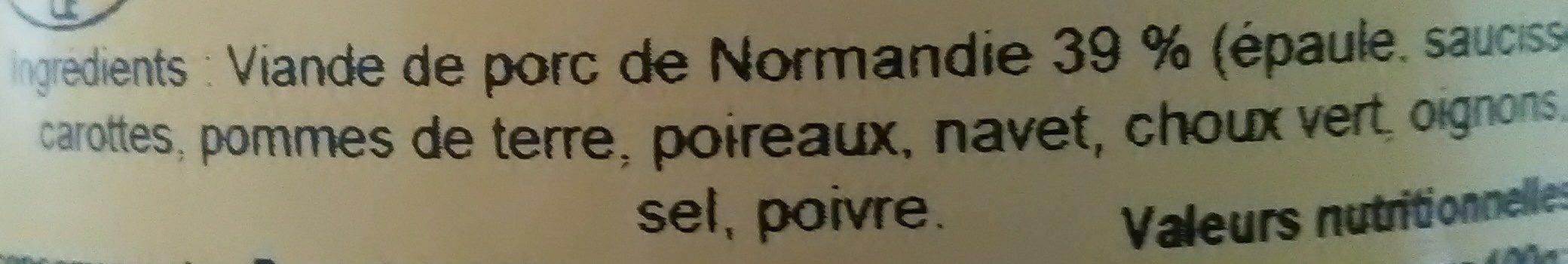 Potée normande porc élevé à la farine d'orge - Ingrédients - fr