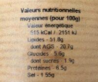 Terrine de foie au pommeau de Normandie - Nutrition facts