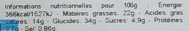 Croissants au beurre - Informations nutritionnelles