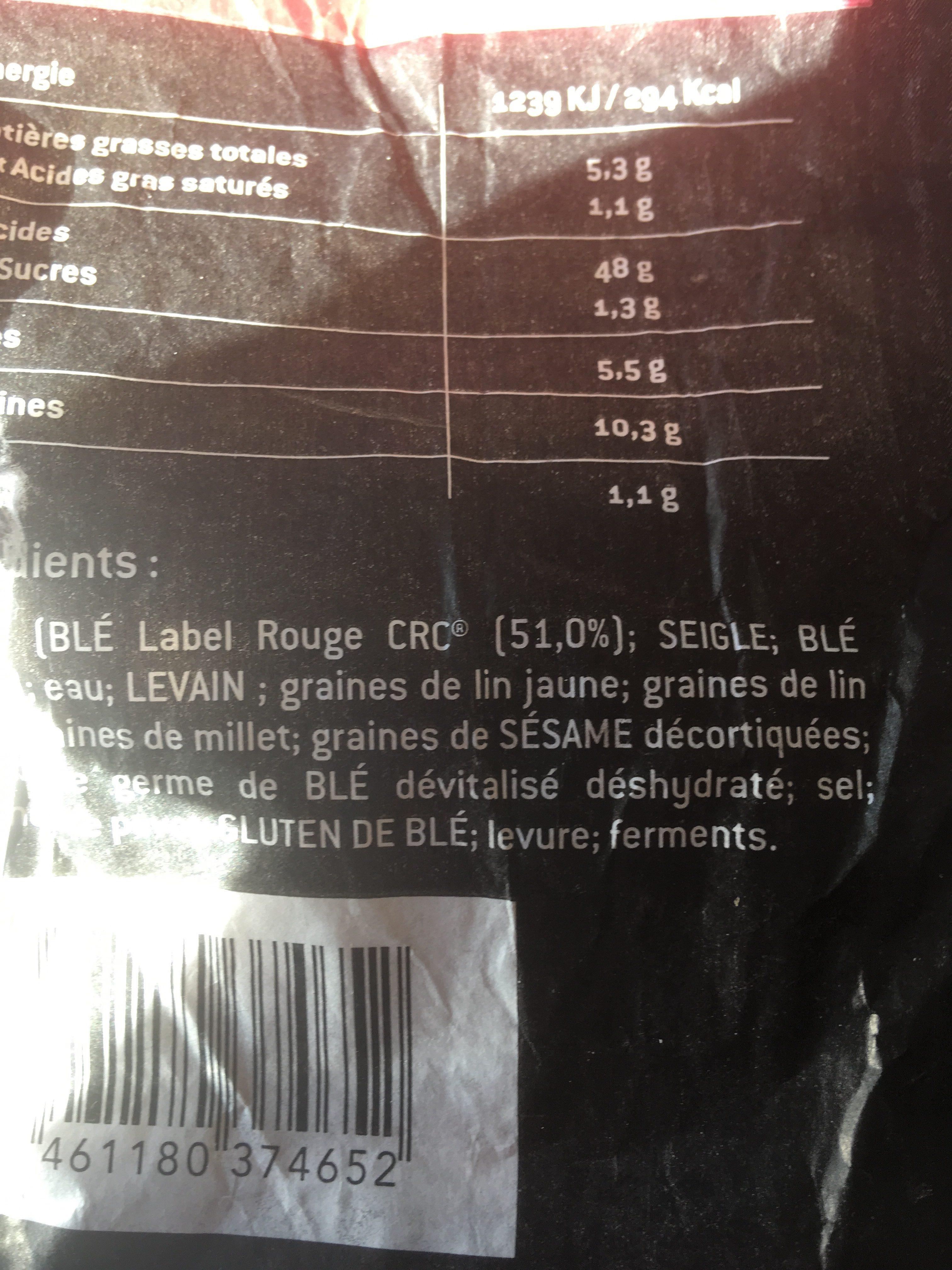 Carre pérènes multigraines - Ingrédients - fr