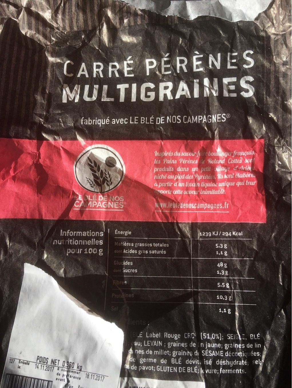Carre pérènes multigraines - Informations nutritionnelles - fr