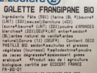 Galette frangipane bio - Ingredienti - fr