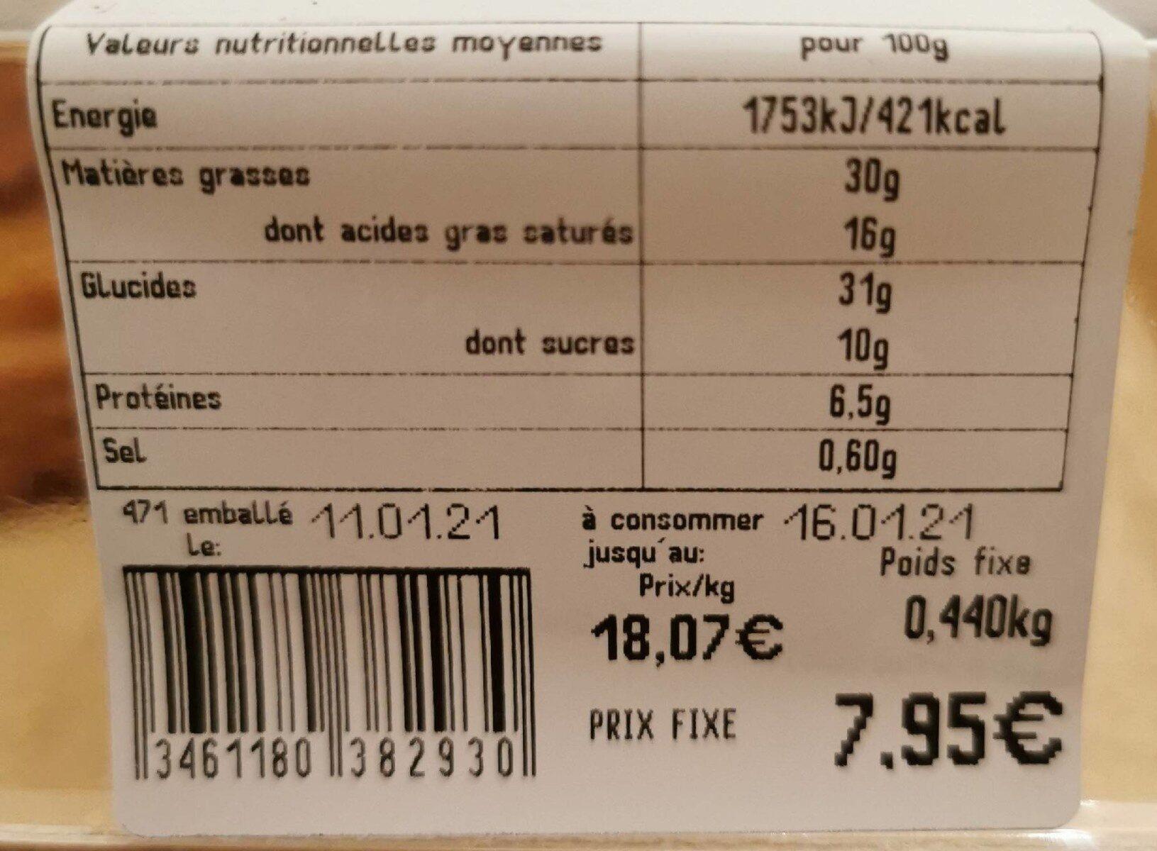 Galette frangipane bio - Valori nutrizionali - fr
