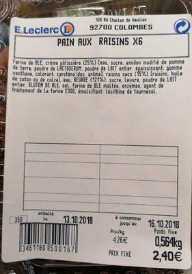 Pain aux raisins x6 - Produit - fr