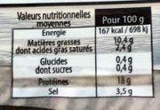 Filets de Hareng doux fumés - Valori nutrizionali - fr