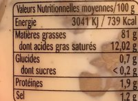 Mayonnaise artisanale - Nutrition facts - fr