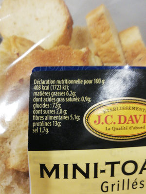 Mini-Toasts grillés - Nutrition facts